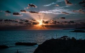 Picture sea, the sun, sunrise