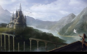 Picture the sky, girl, trees, mountains, bridge, river, castle, bird, waterfall, rider, you are not alone