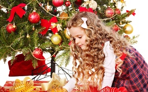 Picture children, toys, tree, child, New Year, Christmas, girl, gifts, curls, box