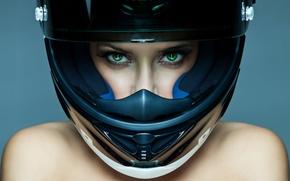 Picture look, girl, face, eyelashes, background, helmet, shoulders, green eyes