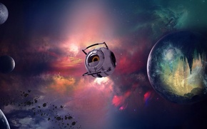 Picture stars, robot, Planet, Space, The universe, Shuttle, nebula