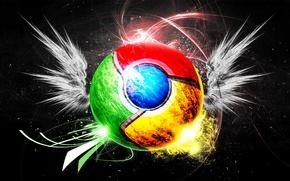Picture background, wings, browser, Google chrome, google chrome