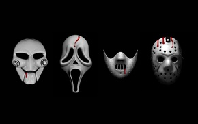 Picture fear, blood, horror, black background, Mask