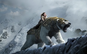 Picture snow, mountains, bear, girl, the Golden compass, the golden compass