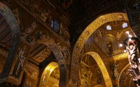 Picture Italy, chapel, Sicily, Palermo, Palace of the Normans, Cappella Palatina, the Cappella Palatina