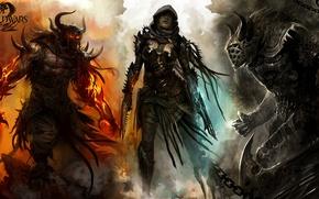 Wallpaper girl, the demon, warrior, Guild Wars 2, killer, undead