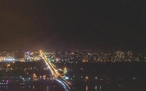 Picture bridge, the city, lights, metro, night, Ukraine, Dnepr, Kiev