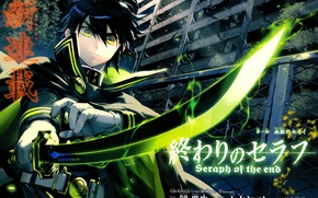 Wallpaper magic, katana, destruction, characters, cloak, The Last Seraphim, Owari no Seraph, Yuuichirou Hyakuya, Seraph of ...