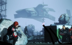 Picture mass effect, shepard, Ashley Williams, javik, garrus vakarian, Cerberus, UT-47 Kodiak Drop Shuttle