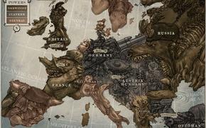 Picture fantasy, art, Europe, steampunk, map, artwork, fantasy art, miscellanea