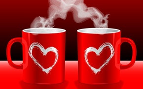 Picture love, red, background, Wallpaper, tea, mood, coffee, hot, couples, mug, Cup, hearts