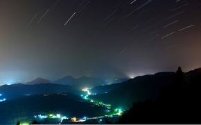 Picture trees, night, lights, hills, starry sky