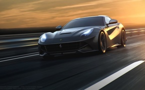 Picture Ferrari, Speed, Front, Sun, Road, Berlinetta, F12, Silver