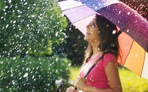 Picture summer, girl, joy, happiness, smile, umbrella, background, rain, widescreen, Wallpaper, mood, positive, umbrella, brunette, wallpaper, ...