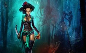 Picture forest, trees, night, blood, heart, figure, spiders, web, fantasy, art, knife, huge, Nikita Bolyakov, selfica