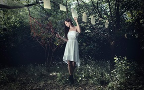 Picture girl, paper, dress, leaves, clothespins, The Journey