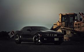 Picture yellow, black, Chevrolet, black, chevrolet, bulldozer, yellow, camaro ss, Camaro, caterpillar, caterpillar