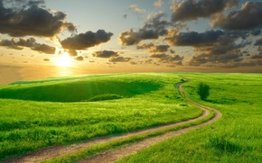 Picture road, summer, the sky, the sun, clouds, landscape, nature, hills, morning, beautiful