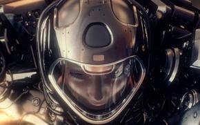 Picture look, girl, face, rendering, the suit, art, helmet
