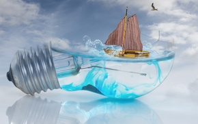 Wallpaper wave, the sky, light bulb, water, reflection, creative, boat, Seagull