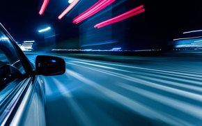 Picture reflection, road, strip, the city, lights, radius, night, small, feel of speed, turn, macro, light, ...