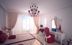 Picture design, room, bed, mirror, window, chair, chandelier, laptop, curtains, bedroom