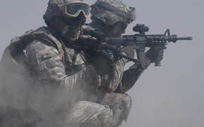 Wallpaper weapons, dust, Marines, soldiers, soldiers