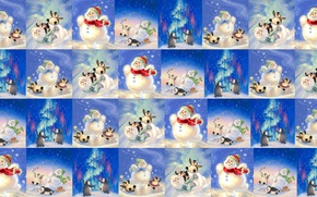 Wallpaper background, mood, holiday, the game, texture, New year, snowman