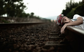 Picture mood, hat, railroad, guy