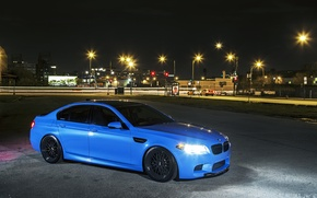Picture night, the city, lights, blue, BMW, BMW, f10, Yas Marina Blue