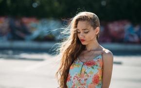 Picture summer, girl, face, sweetheart, model, dress, lipstick, light, beautiful, sunset, young, pretty, nice, bokeh, Anna …