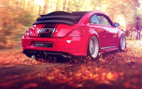 Picture autumn, forest, leaves, red, the wind, foliage, speed, beetle, volkswagen, convertible, beetle