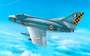 Picture war, painting, aviation, jet, Dassault Mystery