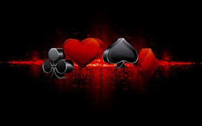 Picture background, black, the suit, peaks, hearts, clubs, diamonds