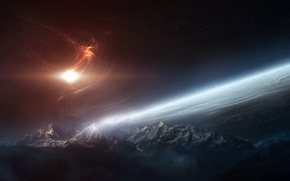 Picture stars, clouds, surface, light, mountains, planet, the atmosphere, nebula
