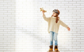 Picture The plane, Glasses, Children, Helmet, Girl, Sweater, Shoes