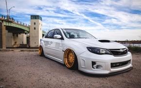 Picture white, wheels, gold, subaru, japan, wrx, impreza, jdm, tuning, front, sti, face