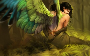 Wallpaper girl, wings, fantasy, art, Alexander Khitrov, GaudiBuendia, Le