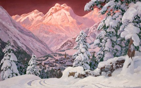Picture snow, sunset, mountains, pink, tree, Alps, houses, Alois Arnegger. Зима