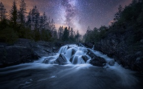 Wallpaper the sky, stars, night, nature, river, the milky way