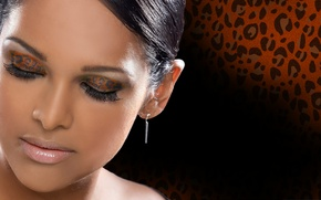 Picture girl, background, glamour, makeup, color, glamour, leopard print shade