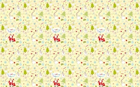 Wallpaper background, mood, holiday, tree, texture, gifts, New year, snowman, Santa Claus