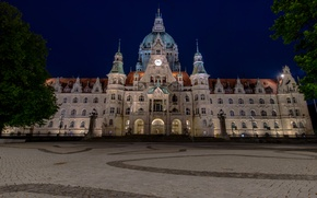 Picture night, Germany, area, Palace, town hall, Hannover, New Town Hall