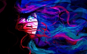 Picture girl, abstraction, emotions, mood, darkness, war, figure, portrait, painting