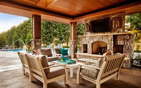 Picture design, style, interior, chairs, oven, terrace