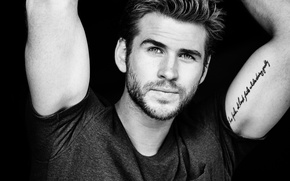 Picture photo, actor, black and white, journal, Liam Hemsworth, Liam Hemsworth, Eric Ray Davidson, Mens Fitness