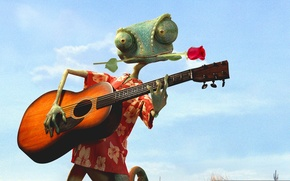 Picture Johnny Depp, Flower, Rose, 2011, with, Guitar, Wallpaper, Series, Family, Musician, Year, Animation, Movie, Paramount …