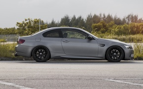Picture the sky, grass, trees, grey, bmw, BMW, profile, grey, e92