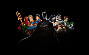 Picture Wonder Woman, black, Batman, background, Green Lantern, Superman, DC Comics, Cyborg, Flash, Aquaman, Justice League