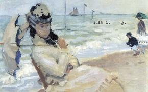 Wallpaper girl, boat, picture, umbrella, sail, veil, seascape, Claude Monet, genre, Camille on the Beach at ...